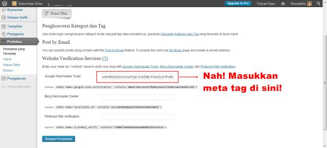 Memasukkan Meta Tag